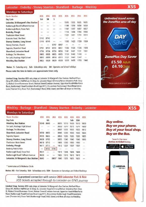 X55 Bus Timetable Wef 22 4 17 Stoney Stanton Parish Council